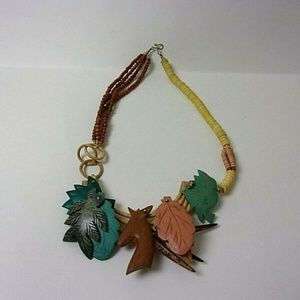 African Tribal Necklace Wood Carved Asymmetrical